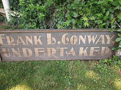 19Th C  Double Sided  Wooden Sand Undertaker Trade Sign