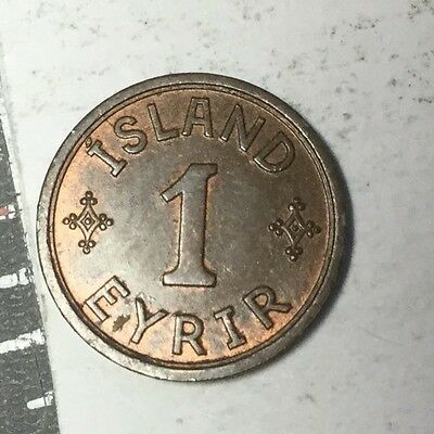 ICELAND 1940 1 Eyrir coin nice toned uncirculated