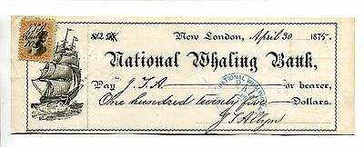 Vintage Check Draft NATIONAL WHALING BANK 1875 New London CT signed JL Allyn