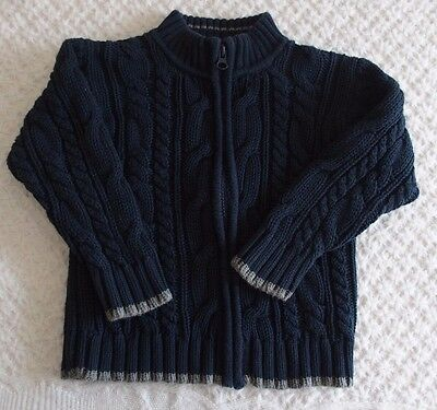Old Navy 4T Boys Navy Blue Zip Up sweater fall winter cotton cardigan cable