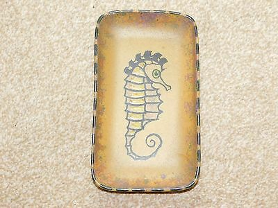 HONITON POTTERY BROWN OBLONG DISH SEAHORSE DESIGN c1970's