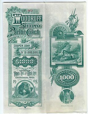 1888 $1000 bond issued by the Woodruff Sleeping and Parlor Coach Co. 40 coupons