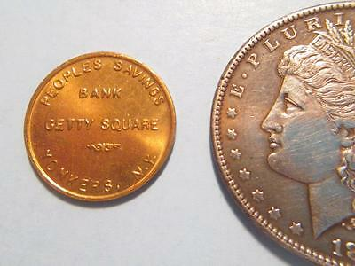 """MDL3  Peoples Bank Getty Square Yonkers """"50 cents When Deposited"""" Token"""