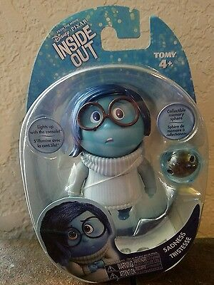 """Inside Out Disney Pixar 3 1/2"""" Vinyl Figure Toy by Tomy Sadness New in Box"""