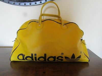 1970s 1980s Vintage Adidas Yellow Black Gym Bag