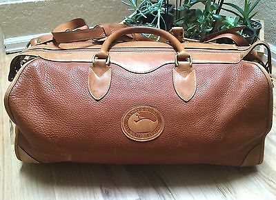 Dooney & Bourke Large Duffle Bag Satchel Leather Tan weekender vintage