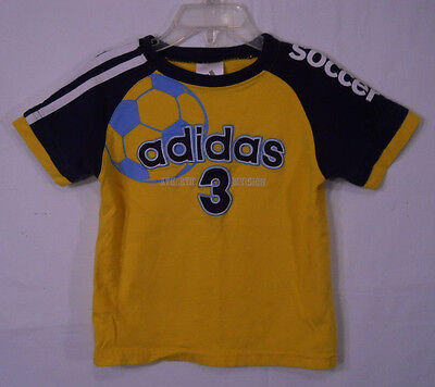 adidas Soccer Boy's T-Shirt Size 2T Yellow/Navy 100% Cotton Embroidered Logo
