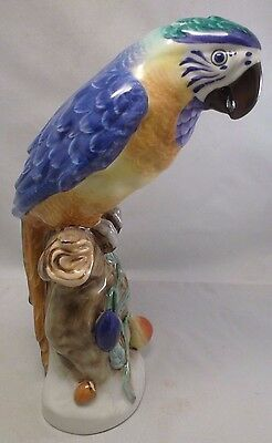 """Herend Large Parrot Blue Bird Perfect Collector Quality 10"""" T X 5"""" W Natural"""