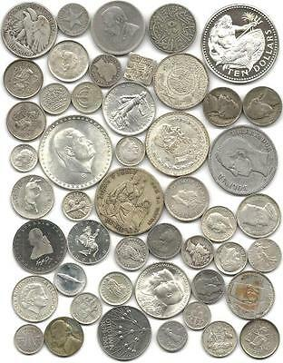 """World (48) Forty Eight Old Silver Coins  #4090 """"great Big Lot & Free Usa Ship"""""""
