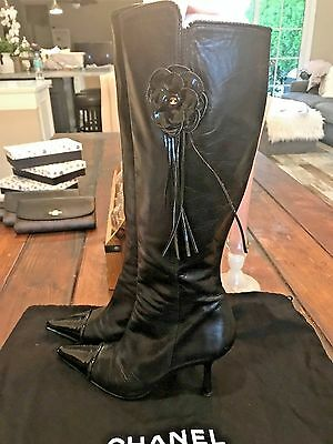 Chanel Black Leather Patent Leather Pointed Cap Toe, Mid Heel Boots SZ 37.5