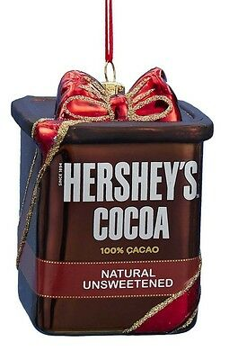Hershey's Powdered Cocoa Box with Ribbon Glass Christmas Ornament HY0447 New