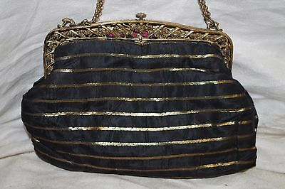 Vintage Antique French Bag Purse W/ Ornate Brass Pierced Roses Frame