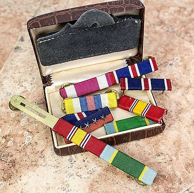 Lot of US Air Force rank ribbons Vintage Used in old Swank Jewelry Box