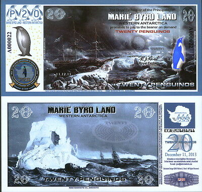 New Polymer 11.12.13 Marie Byrd Land 20 Penguino Reg Issue Fantasy Art Banknote!