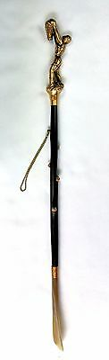 Shoe Horn w Brass Basketball Player Handle Wood Shaft 24 in