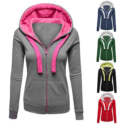 Womens Warm Hoodies Hoody Sweatershirt Hooded Jumper Pullover Coat Zip Jacket