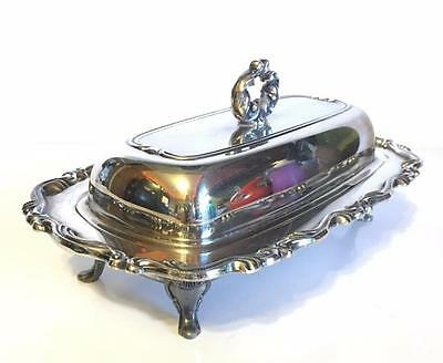 Oneida Georgian Scroll Footed Covered Butter Dish glass insert Lid Silverplate