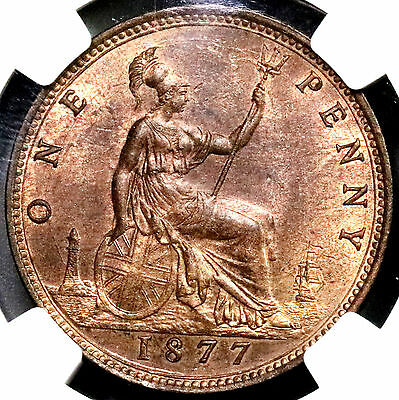 1877 NGC MS 63 Victoria Penny GREAT BRITAIN Coin (16020401D)