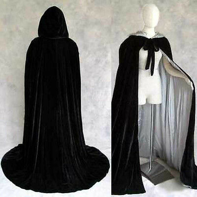 Lined Black Velvet Silver Cosplay Cloak Cape Wedding Wicca SCA LOTR LARP Goth