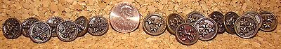"Antique Victorian Buttons Metal with relief designs 5/8""d."