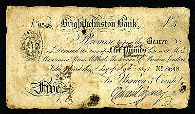 Great Britain. Brighthelmston Bank. 1840 Issue Private Banknote.