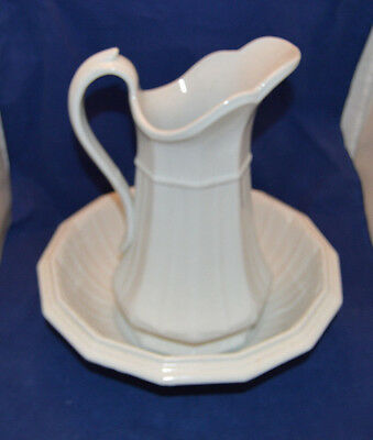 Beautiful White Ironstone Pitcher and Bowl  T.R. Boote 1851
