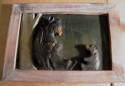 "15x11"" Carved wood tree Bear cubs  frame country lodge cabin bear decor sign"