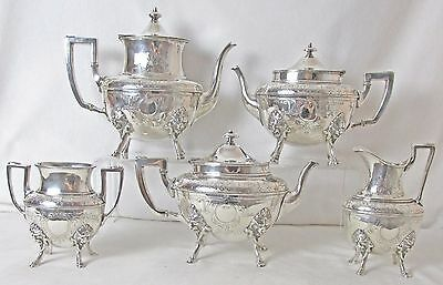 Wilcox Silver Plated 5 Pc Tea & Coffee Set Lion Heads & Feet Exquisite Look