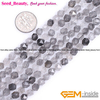 AAA Faceted Grey Cloudy Quartz Gemstone Beads For Cambay Jewelry Making 15''