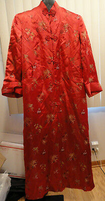 Embroidered Silk Chinese Kimono Long Robe Frog Closures Slit Red Sz 38 America M