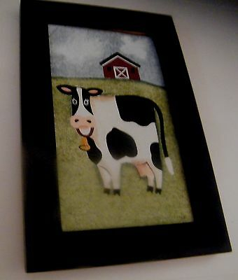 5x7 in framed canvas cow barn country primitive kitchen wall cows decor sign
