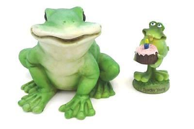 Lot of 2 Frog Figurines Toadily Young Birthday Bobble and Large Smiling Frog