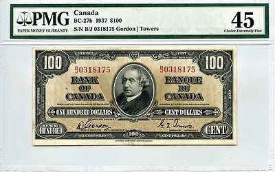 Canada: 1937 Bank of Canada $100 Dollars PMG XF45 (BC-27b, Gordon - Towers)