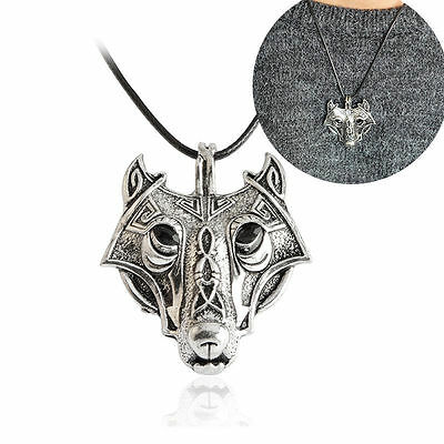 Mens Retro Stainless Steel Wolf Animal Head Vintage Pendant Necklace Chain Gift