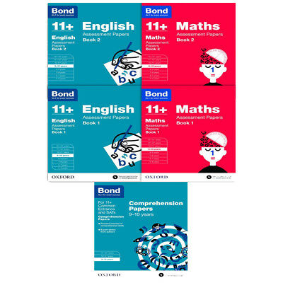 English,Maths Assessment Papers 9-10+ years Collection 5 Books Set Bond 11+ New