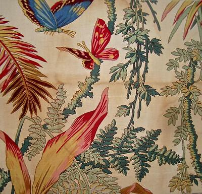 BEAUTIFUL TIMEWORN FRAGMENT VINTAGE FRENCH LINEN c1950-70s, BUTTERFLIES