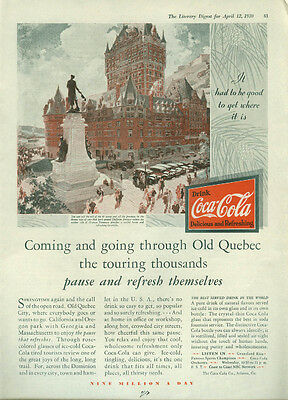 Coming & going through Old Quebec pause & refresh Coca-Cola ad 1930
