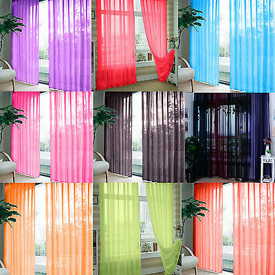 1/2Pieces Floral Tulle Voile Door Window Curtain Drape Panel Sheer Scarf Divider