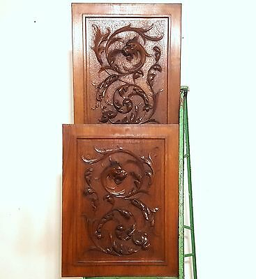 CARVED WOOD PANEL ANTIQUE FRENCH MATCHED PAIR GRIFFIN SCULPTURE CARVING 19 th