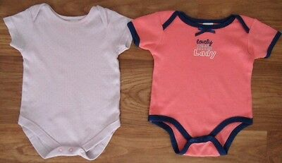 """2 X """"NEXT"""" and """"BABYWORKS"""" BODY/SLEEP SUIT SHORT SLEEVE  BABY GIRLS 3-6 Month"""
