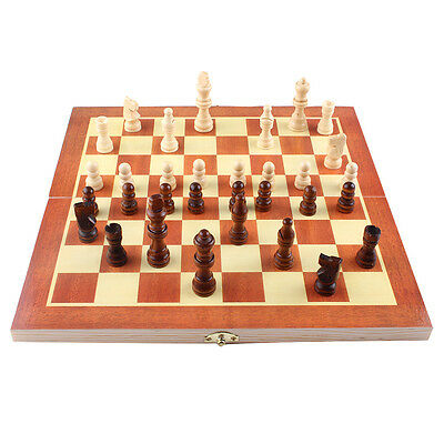 Kids Child Foldable Wooden Pieces Chess Set Board Box Wood Hand Carved Toy Gift