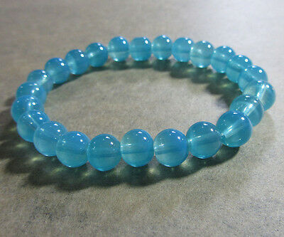 New Charm Clear/Translucent 8MM 30pcs Round Glass Spacer Beads Lake Blue