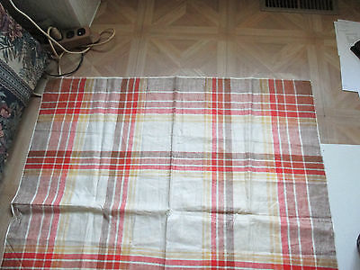 "Vintage All-Linen YELLOW/ORANGE/TAN/BROWN plaid tablecloth 35"" X 35"""