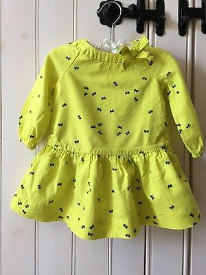 Gorgeous Baby Gap Yellow And Blue Bow Dress Age 6-12 Months