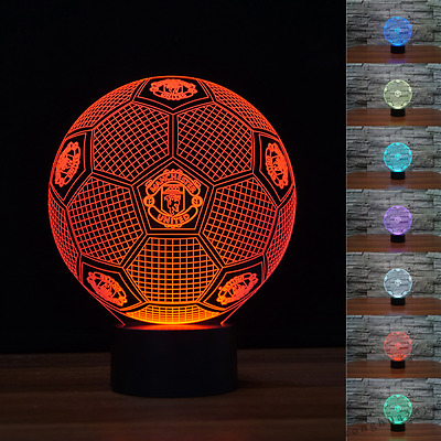 Manchester united 3D Football Night Light 7 Color Change LED Table Lamp Toy Xmas