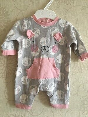 George Grey and Pink All In One Romper Playsuit Cute Teddy Bear Face NEWBORN