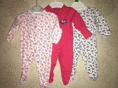 John Lewis Matching 3 Pack All In One Rompers Babygrows NEWBORN