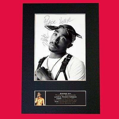 TUPAC SHAKUR Rap Artist Very Rare Signed Autograph Mounted Photo RE-PRINT A4 664