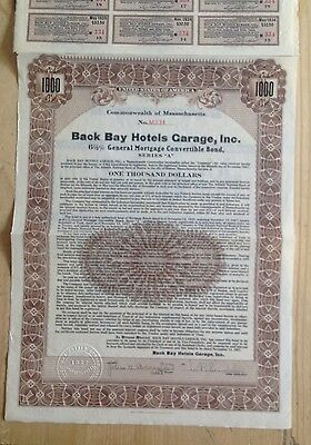 Back Bay Hotels Garage, Inc Gold Bond Ma 1927
