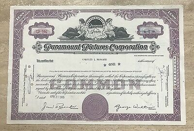 Paramount Pictures Corporation Stock Certificate 1965 Near Mint